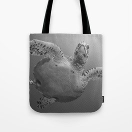 Sea Turtle Line Pattern In Black And White Tote Bag