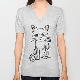 White funny cat Unisex V-Neck