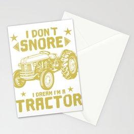I Don't Snore I Dream I'm A Tractor T-shirt Design Hobby Garden Tractor Farm Rake Sleepyhead Nap Stationery Cards