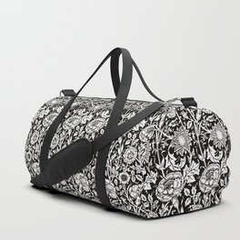 "William Morris Floral Pattern | ""Pink and Rose"" in Black and White Duffle Bag"