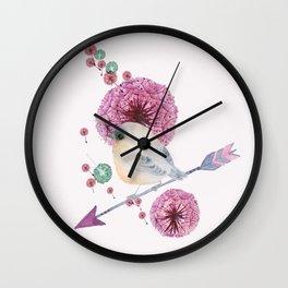 Cute Bird and Dandelion Wall Clock