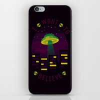 i want to believe iPhone & iPod Skins featuring I WANT TO BELIEVE by badOdds