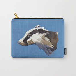 Badger watercolor painting animal - woodland nature - animals - forest - Pastel Blue Carry-All Pouch