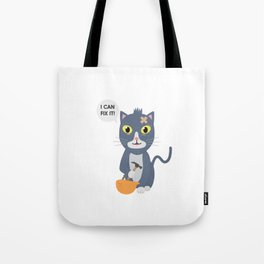 Construction Worker Cat Tote Bag
