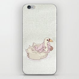 Naked man on inflatable swan iPhone Skin