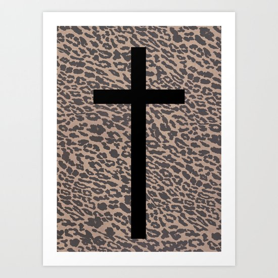 Leopard & Black Cross Art Print