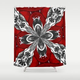 Red Black and White Kaleidoscope Shower Curtain