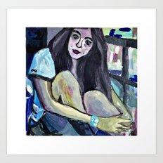 A GIRL ON THE BALCONY  Art Print