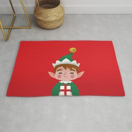 Cute elf Christmas Portrait Rug