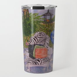 Garden Deck With Blue Barbecue Travel Mug