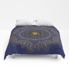 Om Symbol and Mandala in Spiritual Gold Purple Blue Violet Comforters
