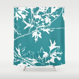 Maple leaves teal Shower Curtain