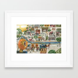lions in rome Framed Art Print