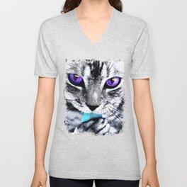 Purple eyes Cat Unisex V-Neck
