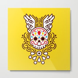 Minimal Skull Metal Print