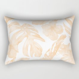 Island Vacation Hibiscus Palm Leaf Coral Apricot Orange Rectangular Pillow
