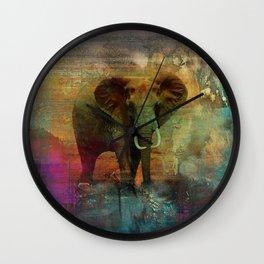 Abstract Grunge Elephant Digital art Wall Clock