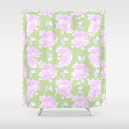 Mint green lavender pink watercolor floral Shower Curtain