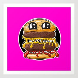 Fast Food FRENZY - Cheezy Carole HOT PINK Art Print