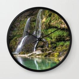 Beautiful Big Waterfall At Cliffside Ultra HD Wall Clock