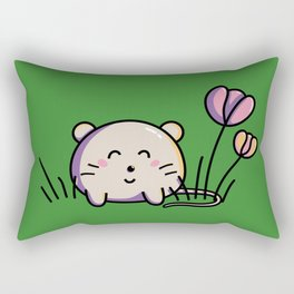 Cute Kawaii Spring Mouse and Flowers Rectangular Pillow
