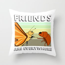 friends are everywhere - Insect Friends Throw Pillow