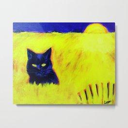 Cat in Yellow Field Metal Print