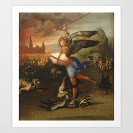 "Raffaello Sanzio da Urbino ""Saint Michael and the Dragon"", 1503 - 1505 Art Print"