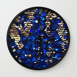 Gold and Blue Glitter Pattern Wall Clock