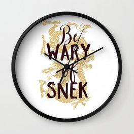 Be Wary Of Snek Oriental Art Dragon Wall Clock