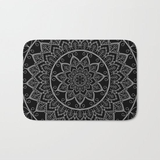 Black and White Lace Mandala Bath Mat