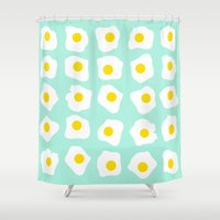 eggs Shower Curtains featuring Eggs Eggs Eggs by ANNIKA THORN