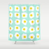 eggs Shower Curtains featuring Eggs Eggs Eggs by annika thorn