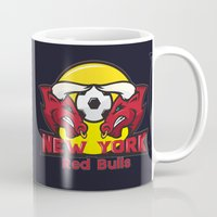 chicago bulls Mugs featuring Red Bulls by Mountain Top Designs