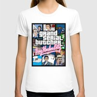 grand theft auto T-shirts featuring Grand Serial Butcher by theyellowsnowco
