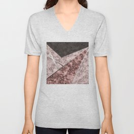 Marble . Combined abstract pattern . Unisex V-Neck