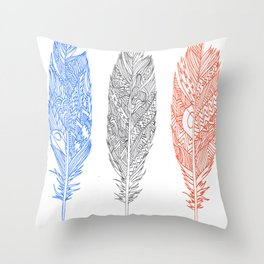 Patterned Plumes Throw Pillow