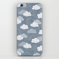 clouds iPhone & iPod Skins featuring RAIN CLOUDS by Daisy Beatrice