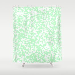 Small Spots - White and Light Green Shower Curtain