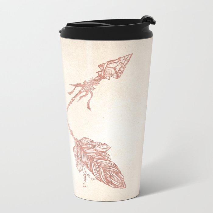 Tribal Arrows Rose Gold on Paper Metal Travel Mug