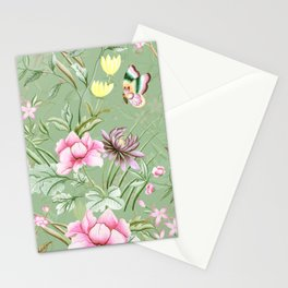 Vintage & Shabby Chic Chinoserie Pastel Spring Green Flowers And Birds Garden Stationery Cards