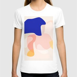 Modern Abstract Peach Pink Navy Blue Yellow Pattern T-shirt