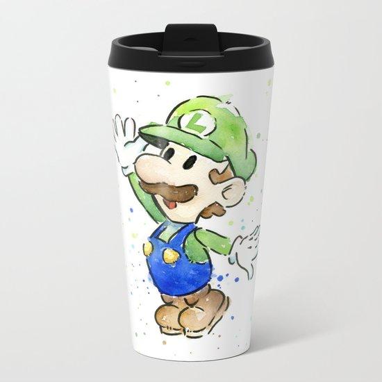 Luigi Watercolor Mario Nintendo Art Metal Travel Mug