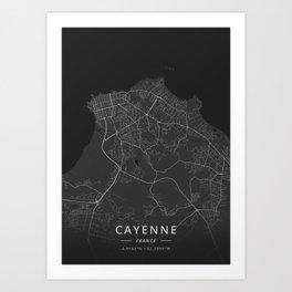 Cayenne, France - Dark Map Art Print