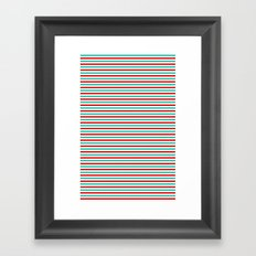 Red and Aqua Stripes Framed Art Print