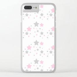 Pink Grey Gray Stars Clear iPhone Case