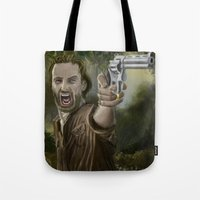rick grimes Tote Bags featuring Rick Grimes by Paulo Fodra