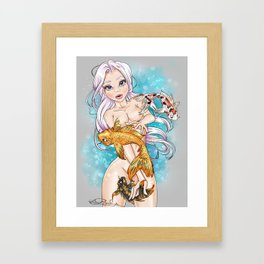 Koi Fish Girl Framed Art Print