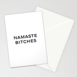 "Fashion Quote ""Namaste Bitches"" Fashion Print Fashionista Girl Bathroom Decor Namastay in bed Stationery Cards"