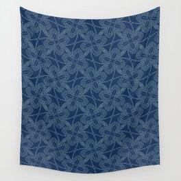 Floral Motif Sashiko Style Japanese Needlework Illustration Wall Tapestry